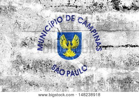 Flag Of Campinas, Sao Paulo State, Brazil, Painted On Dirty Wall