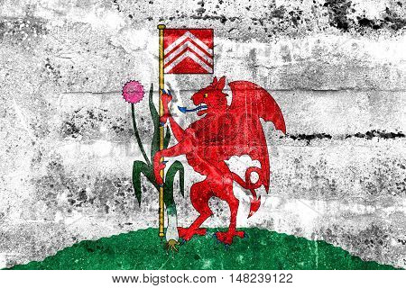 Flag Of Cardiff, Wales, Uk, Painted On Dirty Wall