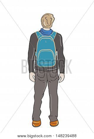 Back view of man with backpack. Rear view people collection. backside view of person. vector illustration