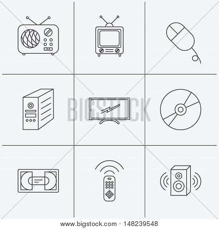 Retro TV, radio and DVD disc icons. PC mouse, VHS cassette and sound speaker linear signs. Linear icons on white background. Vector