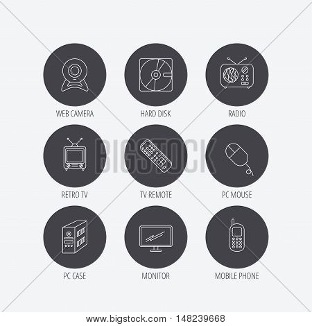 Web camera, radio and mobile phone icons. Monitor, PC case and TV remote linear signs. Hard disk and PC mouse icons. Linear icons in circle buttons. Flat web symbols. Vector