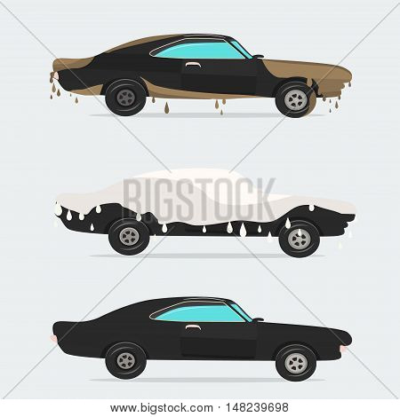 Cool vector flat illustration on dirty and clean car.