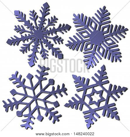 Set of four 3D snowflakes icons in blue metallic finish