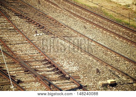 Close up of a railway line in Spain.
