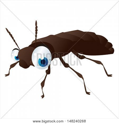 vector cartoon cute animal mascot. Funny colorful cool illustration of happy Beetle