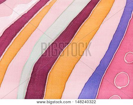 Abstract Striped Colored Silk Batik
