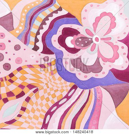 Pink And Violet Floral Pattern On Silk Batik