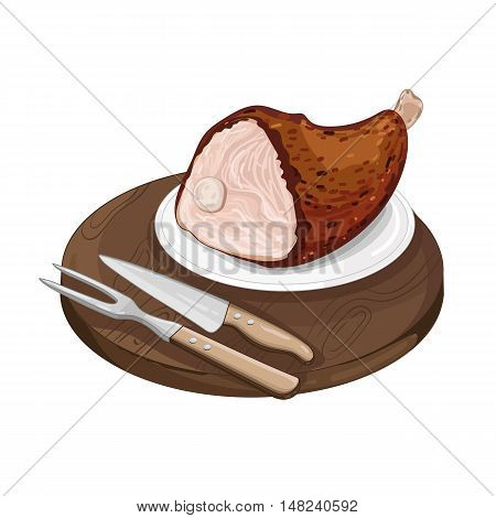 Pork shank on cutting board isolated on white background vector illustration. Roasted meat food.