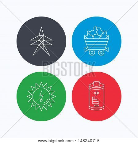 Solar energy, battery and minerals icons. Electricity station linear sign. Linear icons on colored buttons. Flat web symbols. Vector