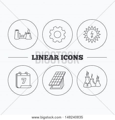 Solar collector energy, factory and industries icons. Solar energy linear signs. Flat cogwheel and calendar symbols. Linear icons in circle buttons. Vector
