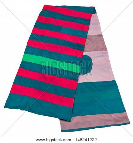 Scarf Stitched From Green, Pink, Blue, Red Strips