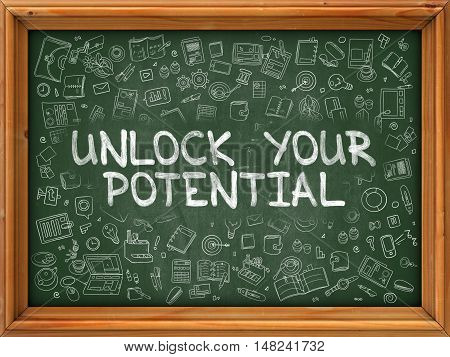 Hand Drawn Unlock Your Potential on Green Chalkboard. Hand Drawn Doodle Icons Around Chalkboard. Modern Illustration with Line Style.
