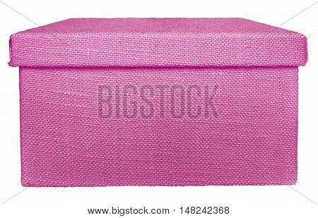 Closed pink box wrapped by burlap canvas isolated on a white background. Clipping path included.