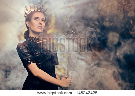 Evil Queen Holding Scepter in Misty Forest