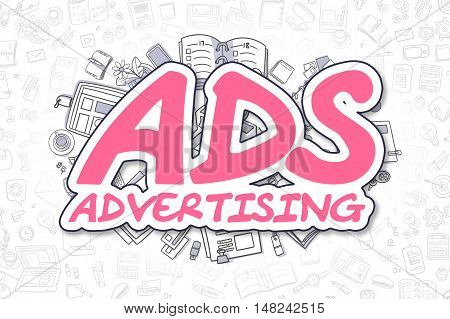 Ads - Advertising - Sketch Business Illustration. Magenta Hand Drawn Inscription Ads - Advertising Surrounded by Stationery. Cartoon Design Elements.