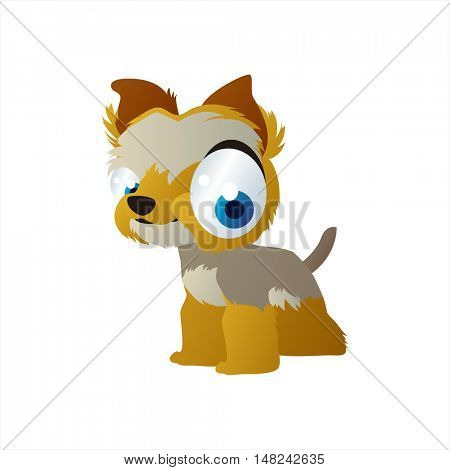 vector cool image of animal. Funny happy Yorkshire terrier dog