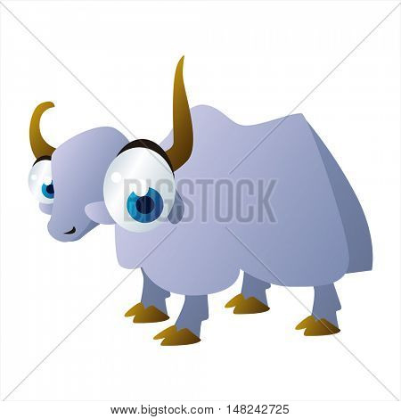 vector cool image of animal. Funny happy Yak