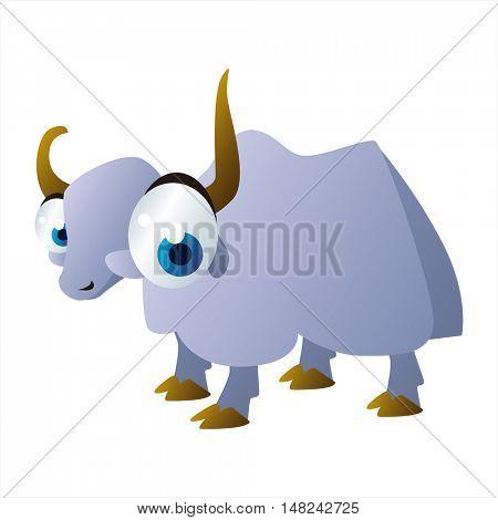 vector cool image of animal. Funny happy Yak