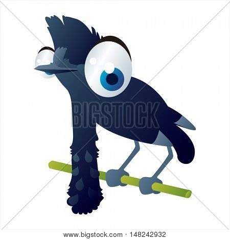 vector cool image of animal. Funny happy Umbrella bird