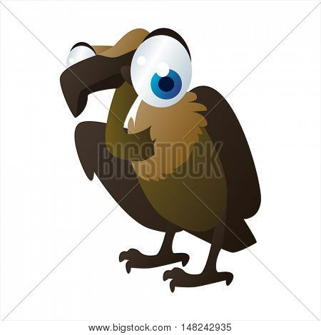 vector cool image of animal. Funny happy Vulture Bird