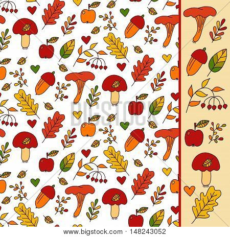 Hand drawn colorful cute childish fall seamless vector pattern