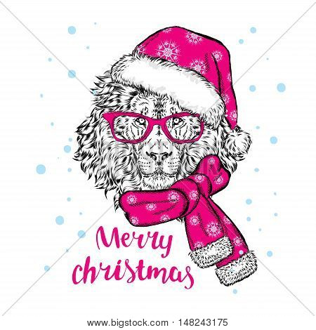 Beautiful lion in a Christmas hat, scarf and glasses. Vector illustration for greeting card, poster, or print on clothes. Christmas and New Year.