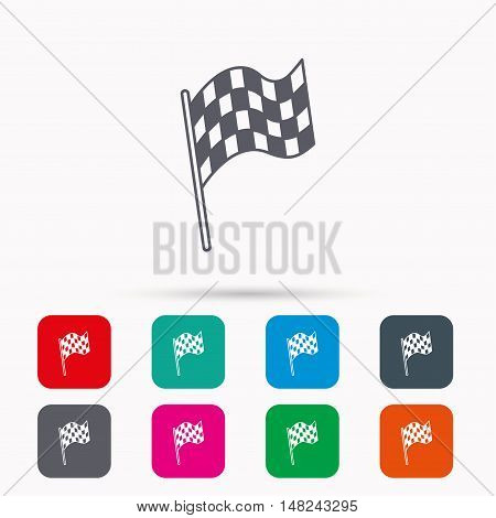 Finish flag icon. Start race sign. Linear icons in squares on white background. Flat web symbols. Vector