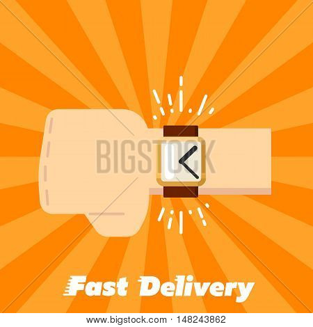 Human hand with watch isolated on striped orange background. Fast delivery banner, vector illustration. Shipping and moving service. Time management concept. Professional courier service.
