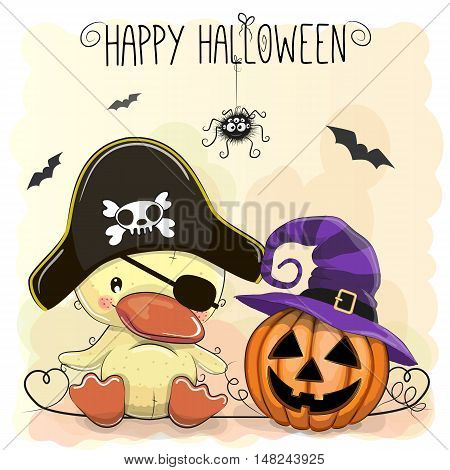 Halloween illustration of Cartoon Duck in a Pirate hat and pumpkin