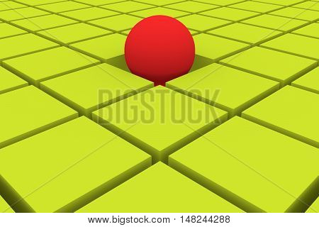 abstract background in green and red with cubes and an emerging ball. 3d illustration 3d rendering