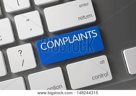 Complaints Concept: Modern Keyboard with Complaints, Selected Focus on Blue Enter Keypad. 3D Illustration.