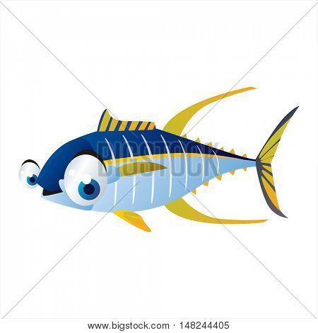 vector cool image of animal. Funny happy sealife creature. Tuna fish