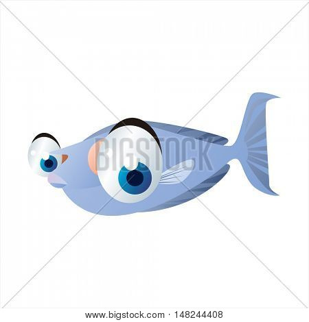 vector cool image of animal. Funny happy sealife creature. Unicorn fish
