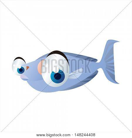 vector cool image of animal. Funny happy sealife creature. Unicorn fish