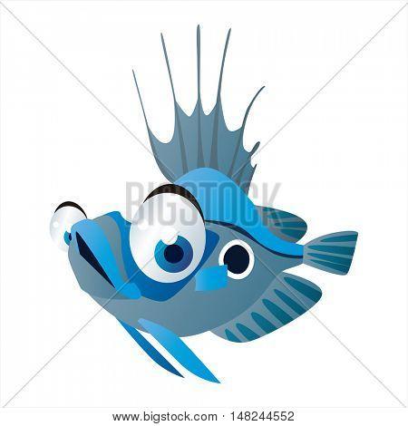 vector cool image of animal. Funny happy sealife creature. Fish