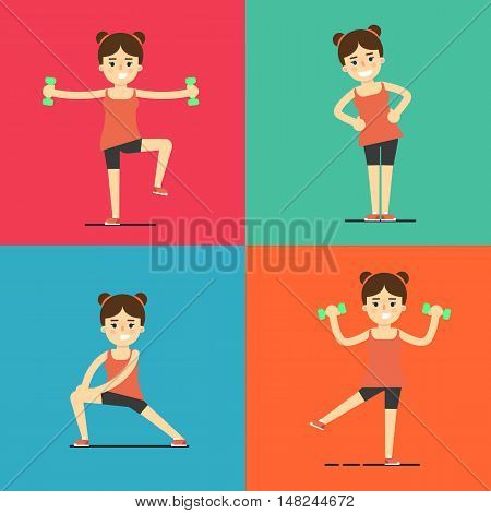 Smiling young girl doing exercises with dumbbells, vector illustration set in flat style. Healthy lifestyle. Fitness people. Workout and gymnastics. Sporty female characters
