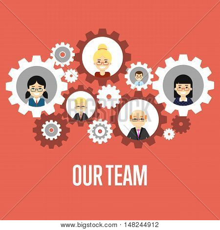 Smiling people characters in round gear icons on red background. Our team banner, vector illustration. Concept of teamwork building working system of cogwheels. Collaboration and partnership