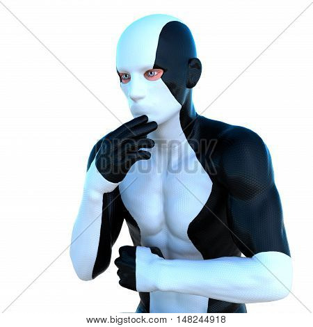 a young man in white and black super suit. In a thoughtful pose. Latex. 3D rendering, 3D illustration