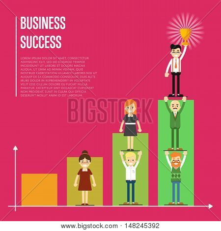 Businesspeople pyramid on crimson background with growing graph, vector illustration . Business success banner. Win concept. Collaboration and partnership, working together. Teamwork design