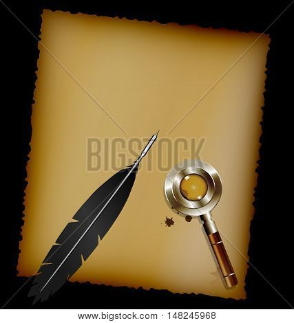 dark background, sheet of old paper and black writing pen with retro magnifying glass