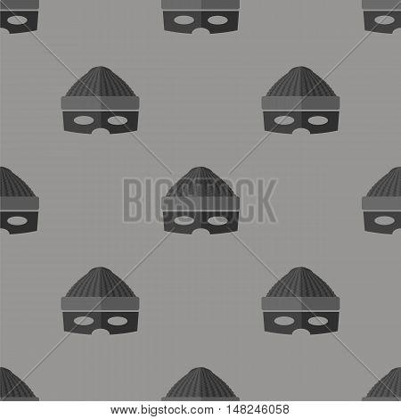 Thief Icon Seamless Pattern on Grey Background
