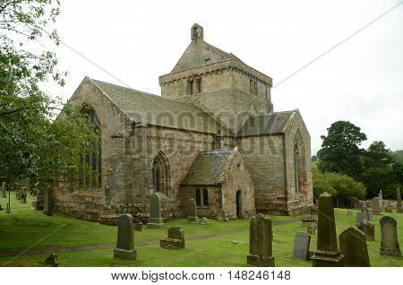 An external view of Crichton collegiate church and graveyard