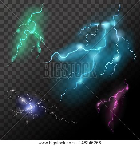 Lightning transparent set in different colors. Thunder-storm effect realistic isolated vector illustration