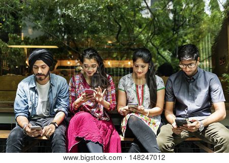 Indian Ethnicity Casual Cheerful Friends Mobile Concept