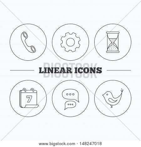 Chat, bird and phone call icons. Hourglass linear sign. Flat cogwheel and calendar symbols. Linear icons in circle buttons. Vector
