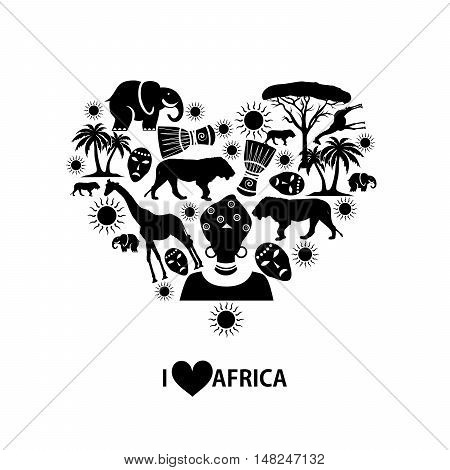 set of icons in the style of a flat design on the theme of Africa.