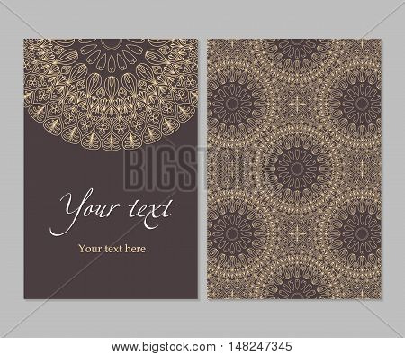 Double-sided card ethnic symmetrical circular pattern in shades of brown, pattern vector illustration