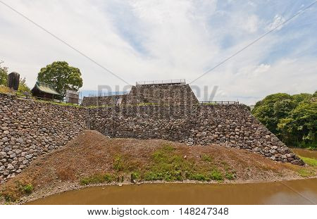 YAMATO KORIYAMA JAPAN - JULY 23 2016: Basement of the main keep of Yamato Koriyama castle Nara Prefecture Japan. Castle was erected in 1580 abandoned in 1873 and partly reconstructed in 1980s
