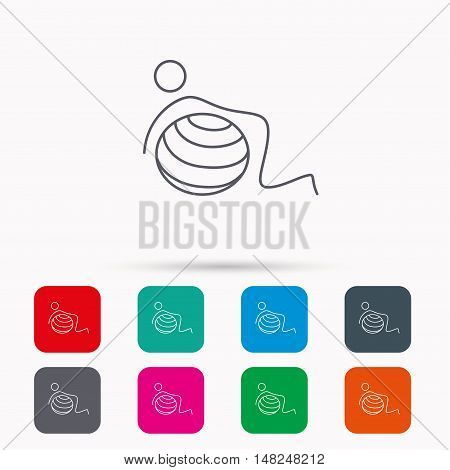 Gymnastic ball icon. Pilates fitness sign. Sport workout symbol. Linear icons in squares on white background. Flat web symbols. Vector