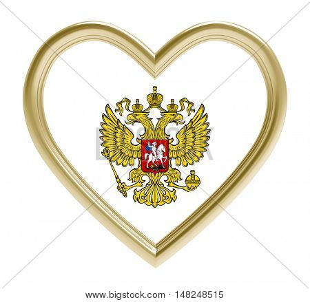 Russian emblem in golden heart isolated on white background. 3D illustration.